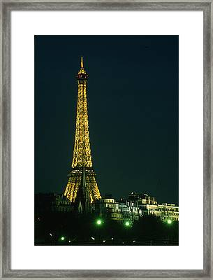 Eiffel Tower At Night Framed Print by Carl Purcell