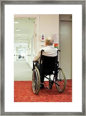 Elderly Man In A Wheelchair Framed Print by John Cole