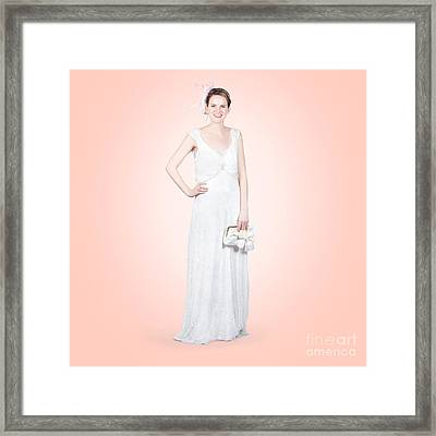 Elegant Bride In White Wedding Dress Framed Print by Jorgo Photography - Wall Art Gallery