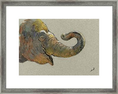 Elephant Head Framed Print by Juan  Bosco