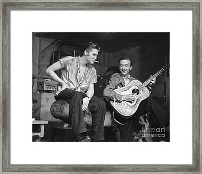 Elvis Presley And His Cousin Gene Smith 1956 Framed Print by The Phillip Harrington Collection