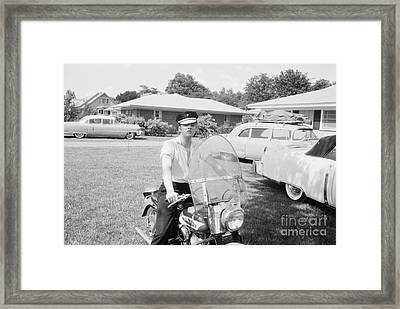 Elvis Presley Sitting On His 1956 Harley Kh Framed Print by The Phillip Harrington Collection