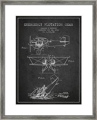 Emergency Flotation Gear Patent Drawing From 1931 Framed Print by Aged Pixel