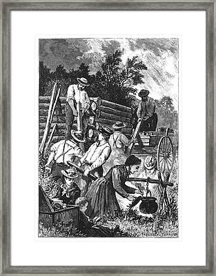 Emigrants Building Cabin Framed Print by Granger