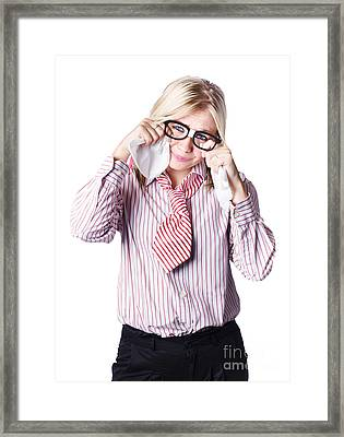 Emotional Nerd Girl About To Cry With Tissues Framed Print by Jorgo Photography - Wall Art Gallery