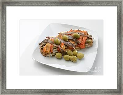 Escalivada And Olives And Anchovies On Toast Framed Print by Josep Maria Penalver