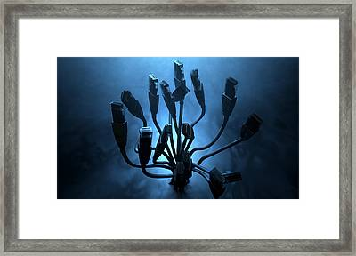 Ethernet Abstract Silhouettes Framed Print by Allan Swart