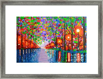 Evening In The Park Framed Print by Mariana Stauffer