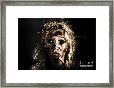 Evil Dead Female Zombie With Monster Headache Framed Print by Jorgo Photography - Wall Art Gallery