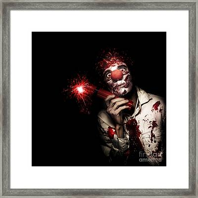 Evil Male Business Clown Holding Explosive Bomb Framed Print by Jorgo Photography - Wall Art Gallery