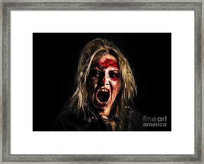 Evil Zombie Girl Screaming Out In Bloody Horror Framed Print by Jorgo Photography - Wall Art Gallery
