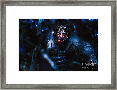 Evil Zombie Man Creeping Though Black Shadows Framed Print by Jorgo Photography - Wall Art Gallery
