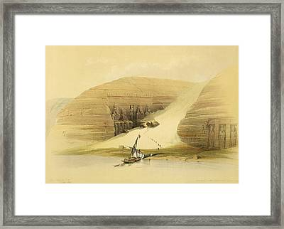 Excavated Temple Of Abu Simbel Framed Print by David Roberts