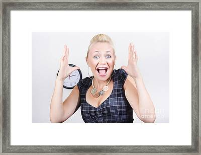 Excited Business Woman Screaming Out In Success Framed Print by Jorgo Photography - Wall Art Gallery