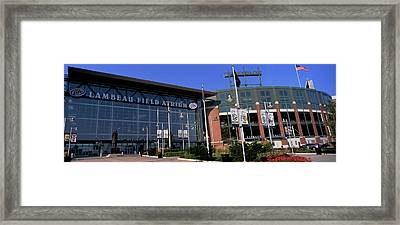 Facade Of A Stadium, Lambeau Field Framed Print by Panoramic Images