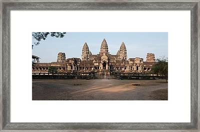 Facade Of A Temple, Angkor Wat, Angkor Framed Print by Panoramic Images