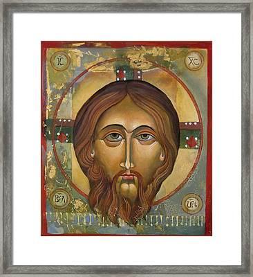 Face Of Christ Framed Print by Mary jane Miller