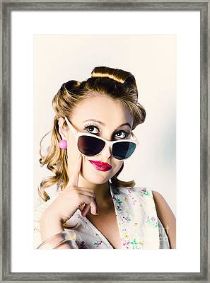 Fashion Girl In Beauty Makeup And Retro Hair Style Framed Print by Jorgo Photography - Wall Art Gallery