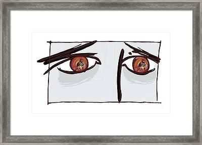 Fearful Eyes, Artwork Framed Print by Paul Brown