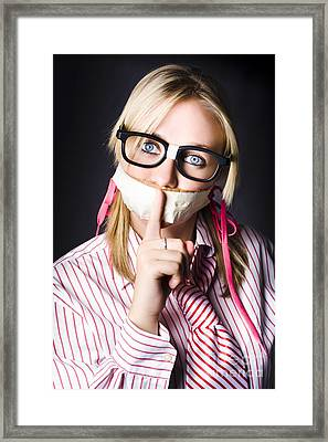 Female Business Nerd With Quiet Gesture Framed Print by Jorgo Photography - Wall Art Gallery