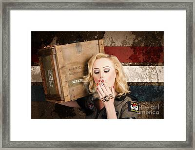 Female Pin-up Solider Smoking Cigarette Ration Framed Print by Jorgo Photography - Wall Art Gallery