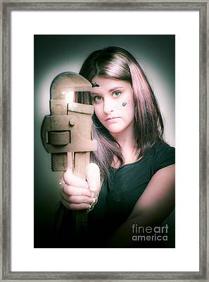 Female Plumber With Wrench Framed Print by Jorgo Photography - Wall Art Gallery