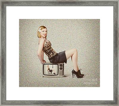 Female Television Show Actress On Old Tv Set Framed Print by Jorgo Photography - Wall Art Gallery