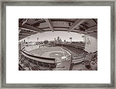Fenway Park And Boston Skyline Framed Print by Susan Candelario