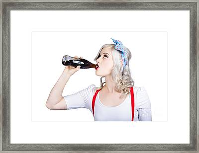 Fifties Pin-up Promo Woman Drinking Soft Drink Framed Print by Jorgo Photography - Wall Art Gallery
