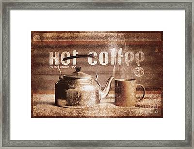 Fine Art Coffee Shop Tin Sign Insignia Framed Print by Jorgo Photography - Wall Art Gallery