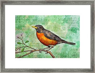 First Robin Of Spring Framed Print by Gary Bodnar