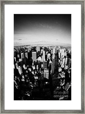 Fisheye View North Towards Central Park New York City Usa Framed Print by Joe Fox