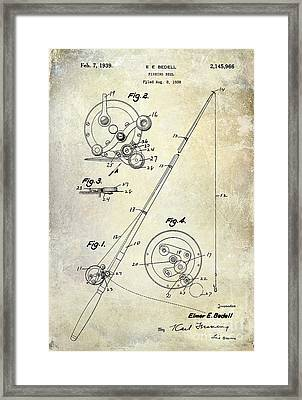 Fishing Reel Patent 1939 Framed Print by Jon Neidert