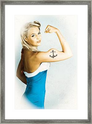 Fit Pin-up Girl With Big Muscles And Anchor Tattoo Framed Print by Jorgo Photography - Wall Art Gallery