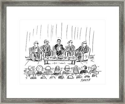 Five Men Sit On A Stage In Front Of An Audience Framed Print by David Sipress