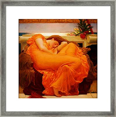 Flaming June Framed Print by Frederick Leighton