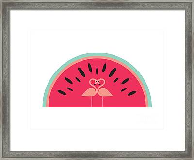 Flamingo Watermelon Framed Print by Susan Claire