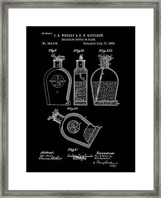 Flask Patent 1888 - Black Framed Print by Stephen Younts