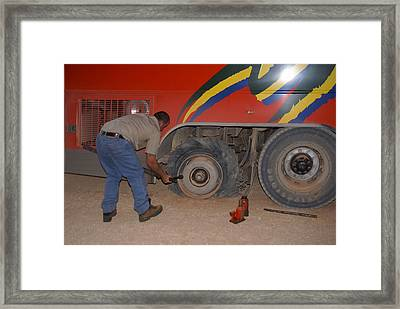 Flat Tire On The Plenty Highway Framed Print by Carol Ailles