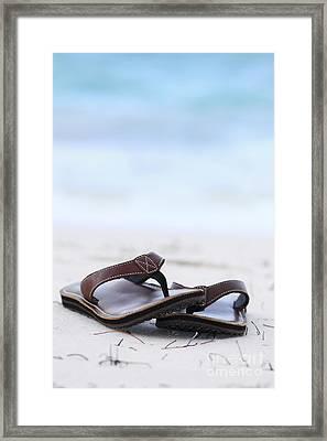 Flip-flops On Beach Framed Print by Elena Elisseeva