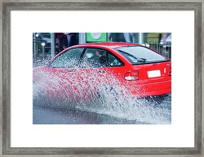 Flooding In Melbourne Framed Print by Ashley Cooper