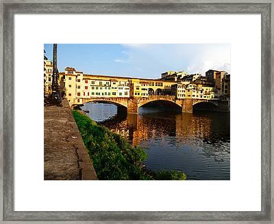 Florence Italy Ponte Vecchio Framed Print by Irina Sztukowski