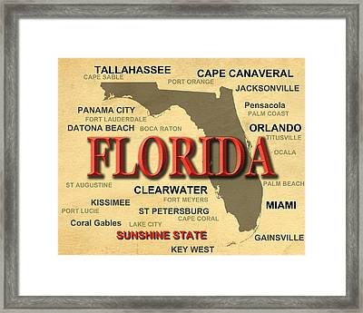 Florida State Pride Map Silhouette  Framed Print by Keith Webber Jr