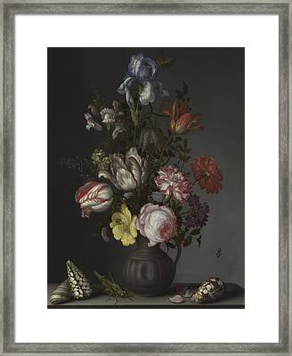 Flowers In A Vase With Shells And Insects Framed Print by Balthasar van der Ast