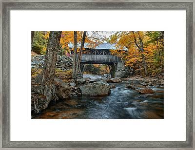 Flume Gorge Covered Bridge Framed Print by Jeff Folger
