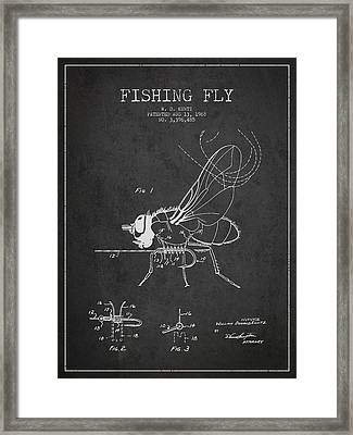 Fishing Fly Patent Drawing From 1968 - Dark Framed Print by Aged Pixel