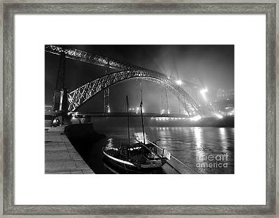 Fog Over The Pier And Iconic Bridge - O Porto - Portugal Framed Print by Carlos Alkmin