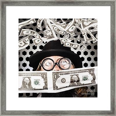 Fortune 500 Businessman Covered In Us Dollars Framed Print by Ryan Jorgensen