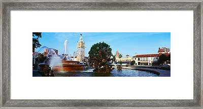 Fountain In A City, Country Club Plaza Framed Print by Panoramic Images