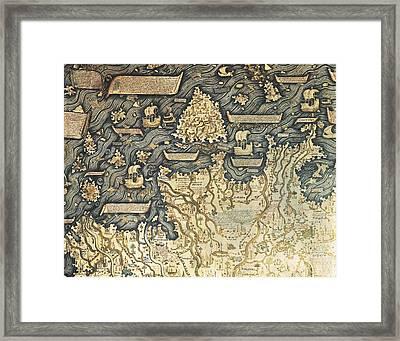 Fra Mauro  -1460. Fra Mauro Map. 1459 Framed Print by Everett